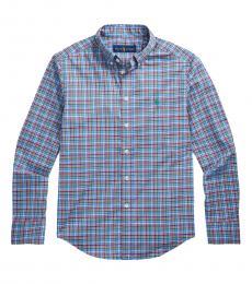 Ralph Lauren Boys Light Blue Multi Plaid Poplin Shirt