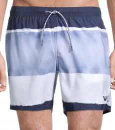 Emporio Armani Blue Tie-Dye Swim Trunks