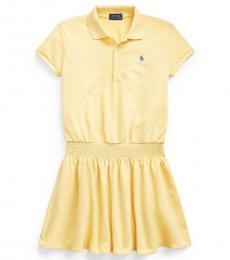 Ralph Lauren Girls Yellow Smocked Mesh Polo Dress
