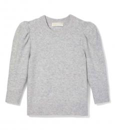 Pearl Heather Knit Puff Sleeve Cropped Sweater