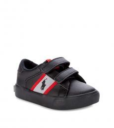 Ralph Lauren Baby Boys Black Faux Leather Sneakers