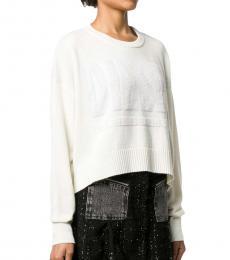 Diesel White Logo Crop Sweater