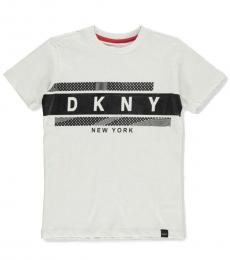 DKNY Little Boys White Logo Graphic T-Shirt