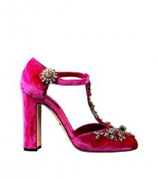 Pink Embellished T-Strap Heels