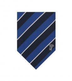 Blue Navy Stripe Silk Tie