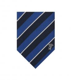 Versace Blue Navy Stripe Silk Tie