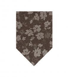 Brown Artisanal Shadow Floral Tie