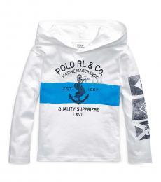 Ralph Lauren Little Boys White Jersey Hooded T-Shirt