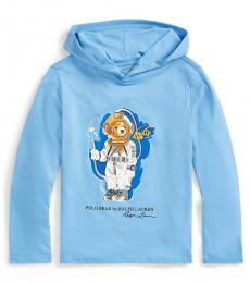 Ralph Lauren Boys Fall Blue Diving Bear Hooded T-Shirt