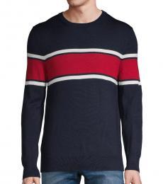 Calvin Klein Navy Colorblock Wool-Blend Sweater