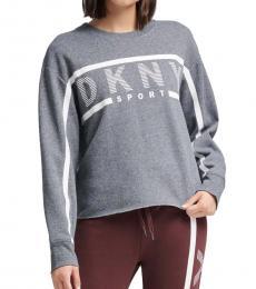 DKNY Grey Stripe Logo Sweatshirt