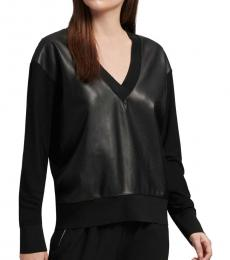 DKNY Black V-Neck Sweatshirt