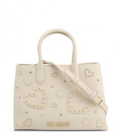 Love Moschino White Studded Heart Large Satchel