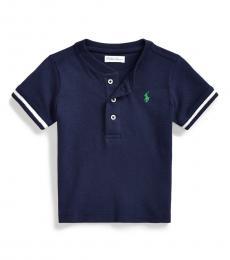 Ralph Lauren Baby Boys Navy Mesh Henley Shirt