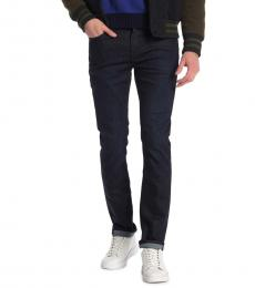 Navy Blue Paxtyn Squiggle Slim Jeans