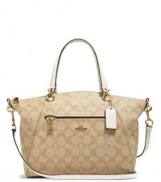 Coach Light Khaki Chalk Prairie Large Satchel