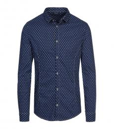 Armani Jeans Dark Blue Printed Slim Fit Shirt