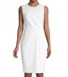 Calvin Klein Cream Pleated Sheath Dress