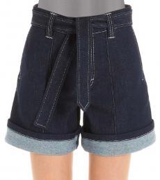 Chloe Dark Blue High Waist Denim Shorts