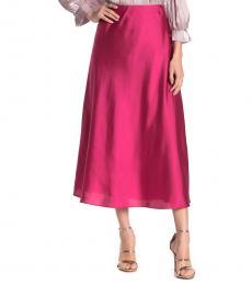 Fuchsia Davis Satin Midi Skirt