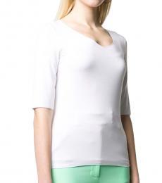 Emporio Armani White Slim-Fit Knit Top