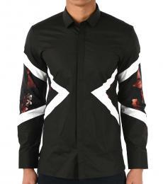 Black Floral Modernist Shirt