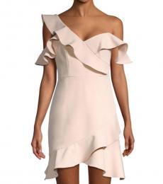 Light Pink Asymmetric Ruffled Mini Dress