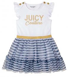 Little Girls White Blue Striped Button Accent Dress