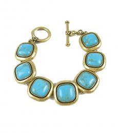 Ralph Lauren Gold-Turquoise Flex Toggle Bracelet