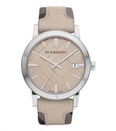 Burberry Cream Sun-Ray Dial Watch