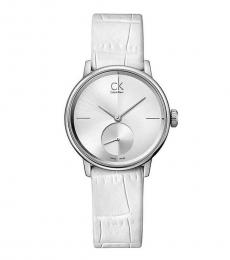 White Accent Silver Dial Watch