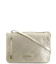 Pale Gold Embossed Large Shoulder Bag