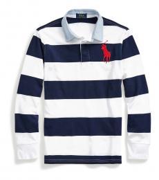 Little Boys Newport Navy Big Pony Striped Polo