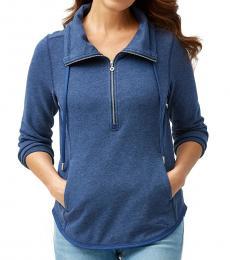 Navy Blue Funnel Neck Pullover