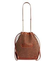 Saint Laurent Brown Pochon Medium Bucket Bag