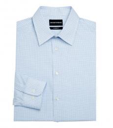 Light Blue Modern-Fit Check Shirt