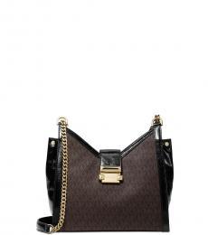 Michael Kors Brown Black Whitney Medium Shoulder Bag
