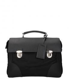 Prada Black Solid Large Briefcase Bag