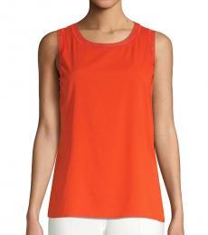 Orange Istora Fine Stretch Silk Top
