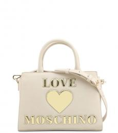 Love Moschino White Padded Heart Small Satchel