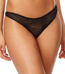 DKNY Black Satin-Trim Thong Underwear