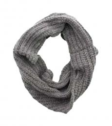 Coach Grey Cable Knit Twisted Cowl Scarf