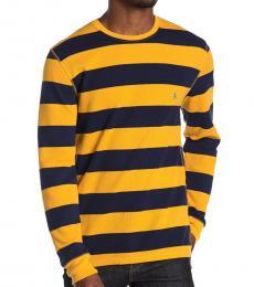 Ralph Lauren Yellow Waffle Rugby Stripe Sweater