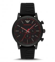 Emporio Armani Black-Red Chronograph Watch