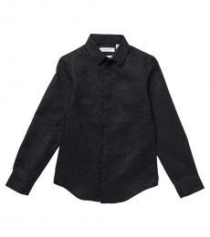Calvin Klein Boys Black Stretch Metallic Dot Shirt