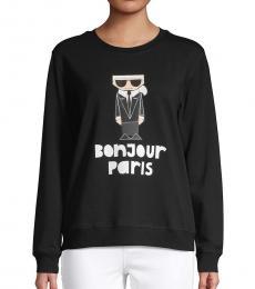 Karl Lagerfeld Black Bonjour Graphic Sweatshirt
