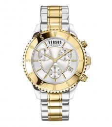 Versus Versace Silver Gold Chronograph Watch