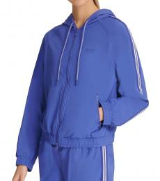 DKNY Royal Blue Hooded Zip-Front Jacket