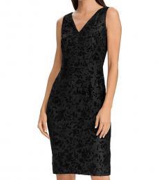 Ralph Lauren Black Velvet Lace Party Sheath Dress