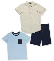 DKNY 3 Piece T-Shirt/Shirt/Shorts Set (Little Boys)